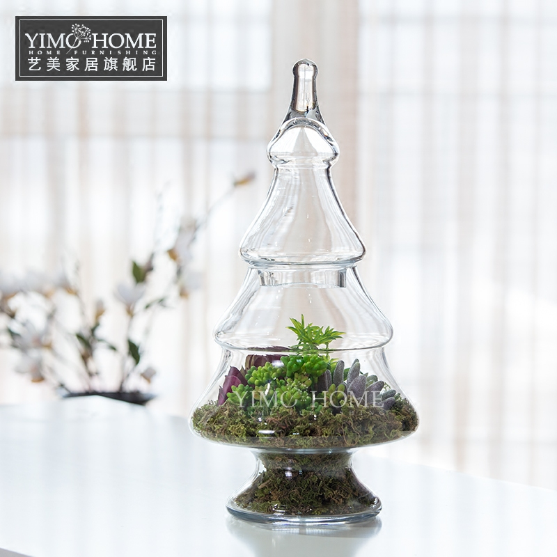 new christmas tree with lid transparent glass jars for candy large storage bottle vase succulents wedding - Large Glass Jars