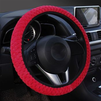 2019 2019 New Universal Car Steering Wheel Covers Winter Plush Soft Warm Covers Car Interior Accessories image