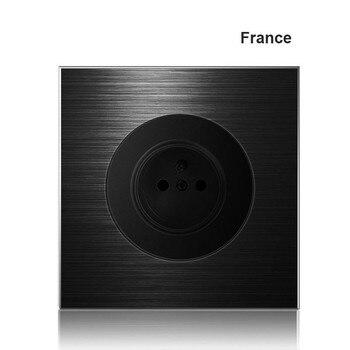 86 type 1 2 3 4 gang 1 2 way black aluminum alloy panel Switch socket light Europe Industry Switch France Germany UK socket led 10