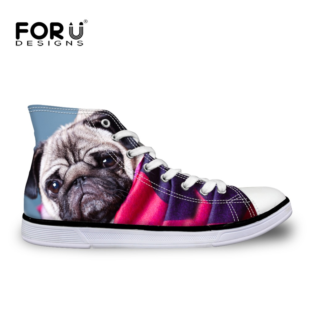 FORUDESIGNS 2017 Women High Top Canvas Shoes Pug Dog Bulldog Printing Female Vulcanize Shoes Casual Teens Girls Students Flats