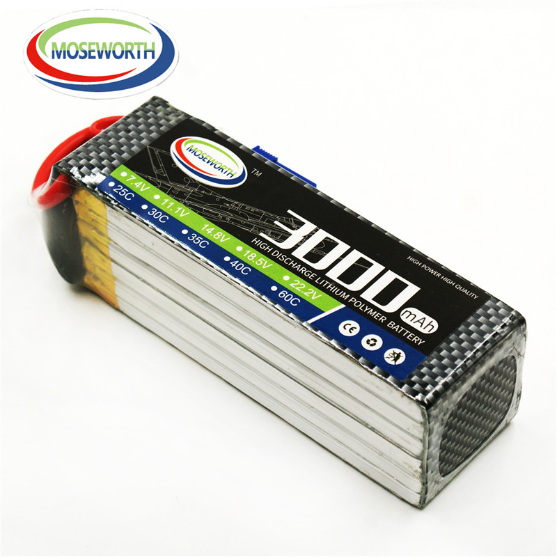 MOSEWORTH 6S RC lipo battery 22.2v 3000mAh 25C For rc airplane drone quadrotor helicopter 6s batteria AKKUfree shipping