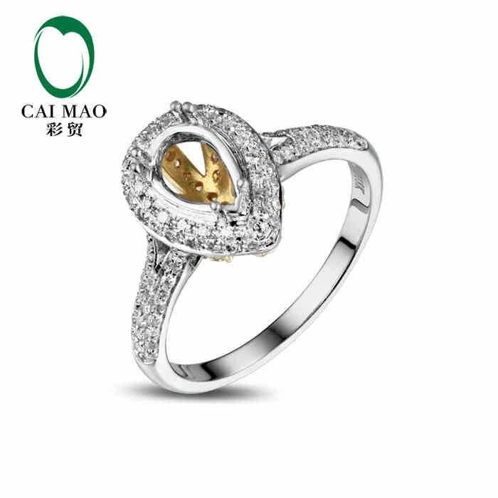 CaiMao Pear cut Semi Mount Ring Settings & 0.45ct Diamond 18k White Gold Gemstone Engagement Ring Fine JewelryCaiMao Pear cut Semi Mount Ring Settings & 0.45ct Diamond 18k White Gold Gemstone Engagement Ring Fine Jewelry