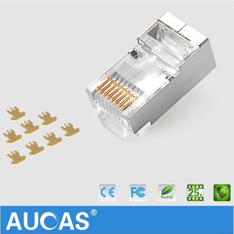 AUCAS högkvalitativ 50st 100pcs rj45 kontaktplugg cat6 skärmad 8p8c - Datorkablar och kontakter - Foto 6