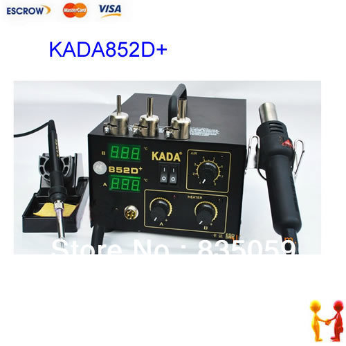 цены 220V KADA852D+ 2 in 1 SMD SMT soldering rework station Welder HOT AIR & IRON KADA 852D+