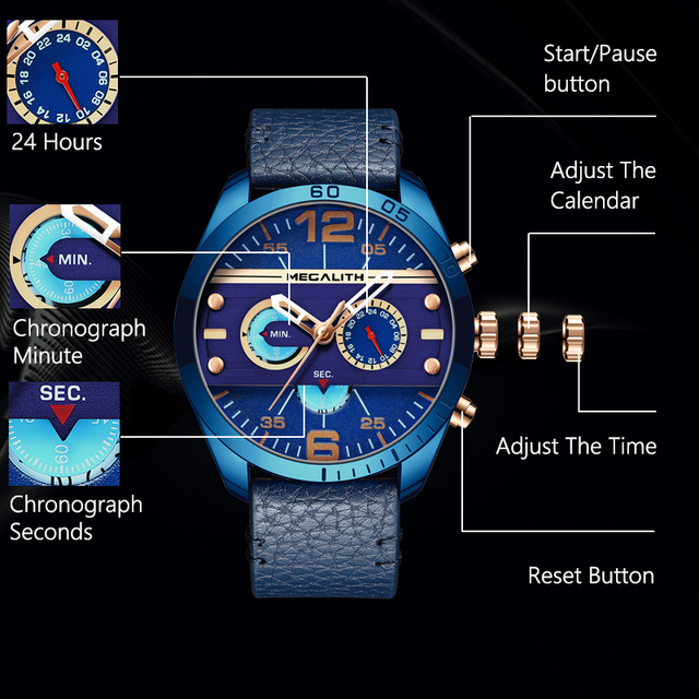MEGALITH Top Brand Military Sport Watches Men Fashion Waterproof Blue Leather Strap Quartz Wristwatches Male Clock Reloj Hombre