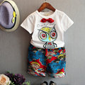 Fashion Summer girls boys short sleeve cotton printed owl t shirt+ fan shorts suit new design children's casual clothing 16J03