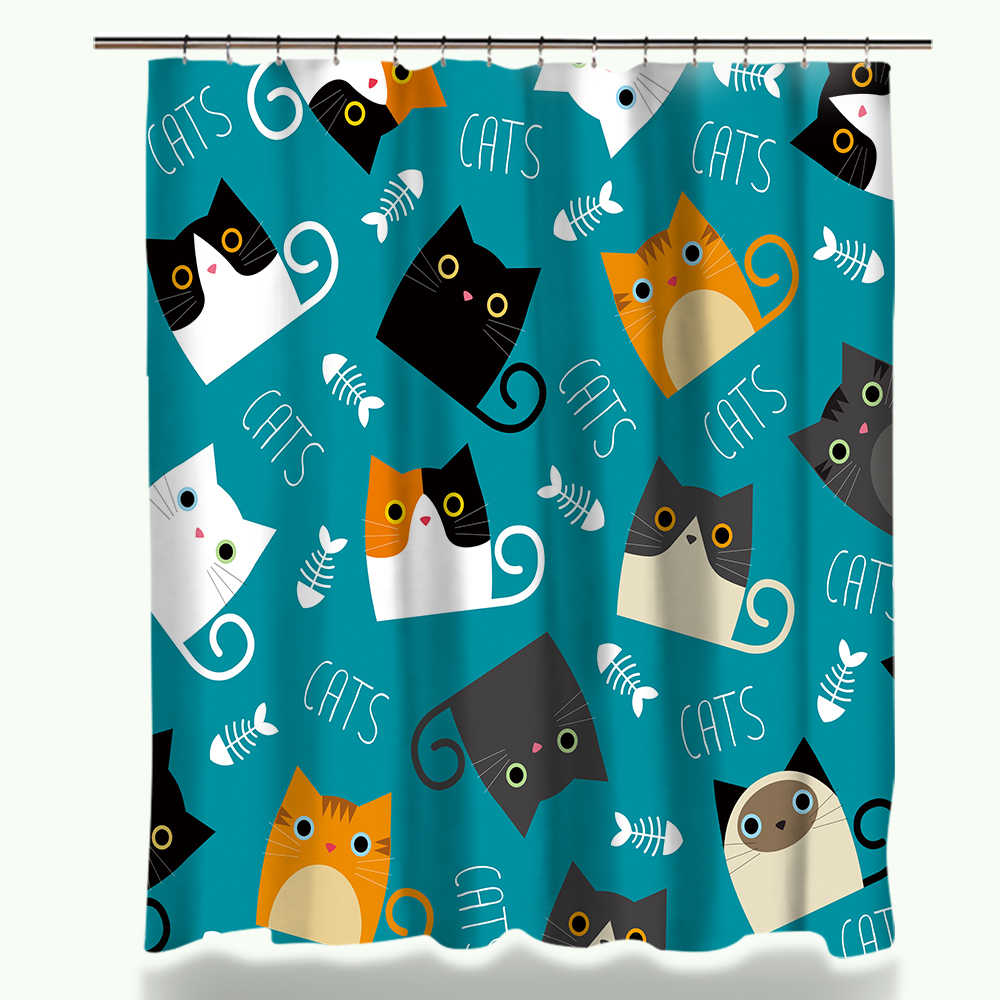Cartoon Shower Curtain Set Cute Cat Printed Design Fabric Polyester Waterproof Home Bathroom Decor Curtains and Carpet