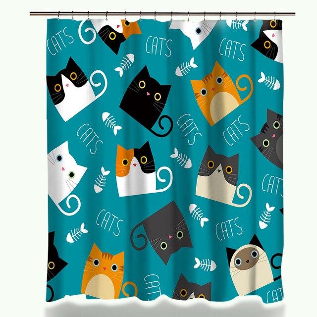 Cartone animato Tenda Della Doccia Set Cute Cat Disegno Stampato Tessuto In Poli