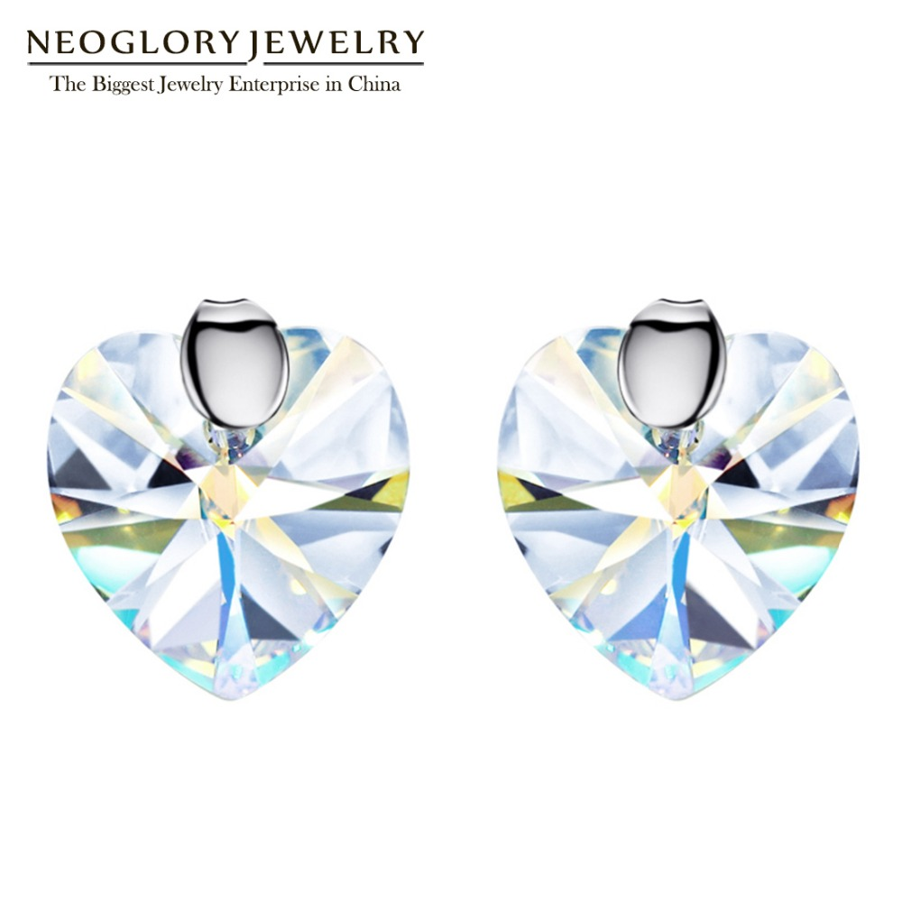 Neoglory Made With Swarovski Elements Crystal Heart S925 Stud Earrings For  Women Fashion Jewelry 2017 New