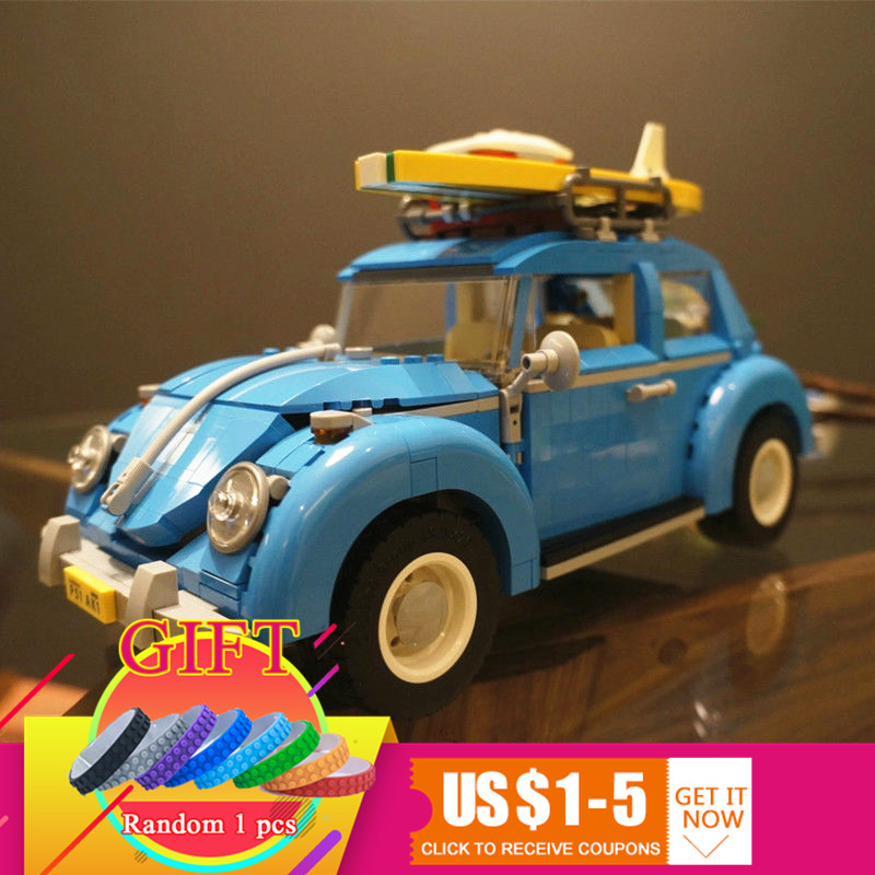 21003 1193Pcs Technical Series the Beetle Model Classic Building Blocks Car Compatible with 10252 toys for children gift lepin 2018 lepin 21003 technic series city car beetle model educational building blocks compatible legoing 10252 toy as children gift