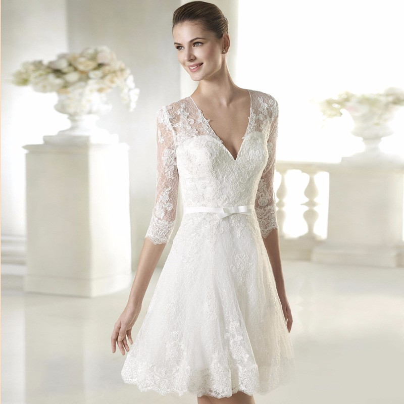 wedding dresses with short sleeves half sleeve v neck white lace simple wedding dress 9435