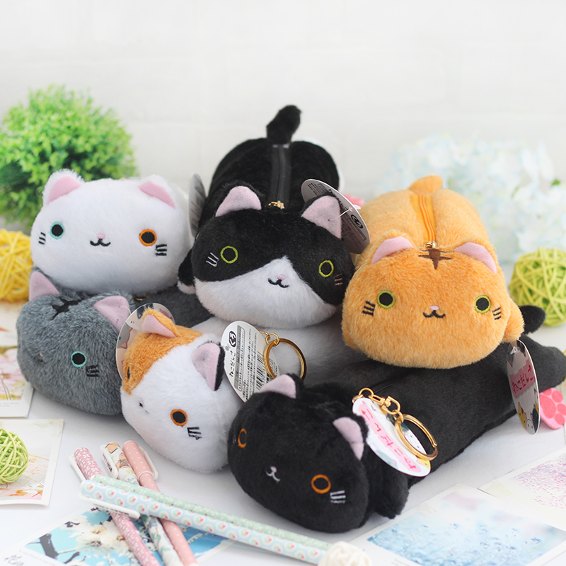 1 Pc/Lot Cute Lovely Fluffy Japanese-Cat-Shaped Pencil Bag & Pencil Case for School Stationery & Office Supply pencil shaped pencil case