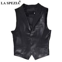 LA SPEZIA Plus Size 5xl Vests Men Black Genuine Leather Waistcoat Male Sheepskin Pockets Slim Business Winter Sleeveless Jackets