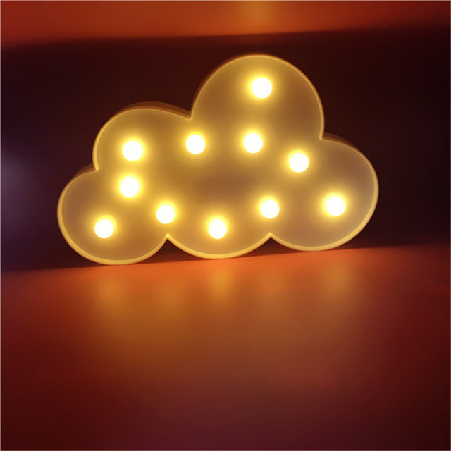 3D Cartoon white cloud LED Night light Batteries Powered  11Leds Atmosphere Lamp for Kids Bedroom Home Decoration Gift