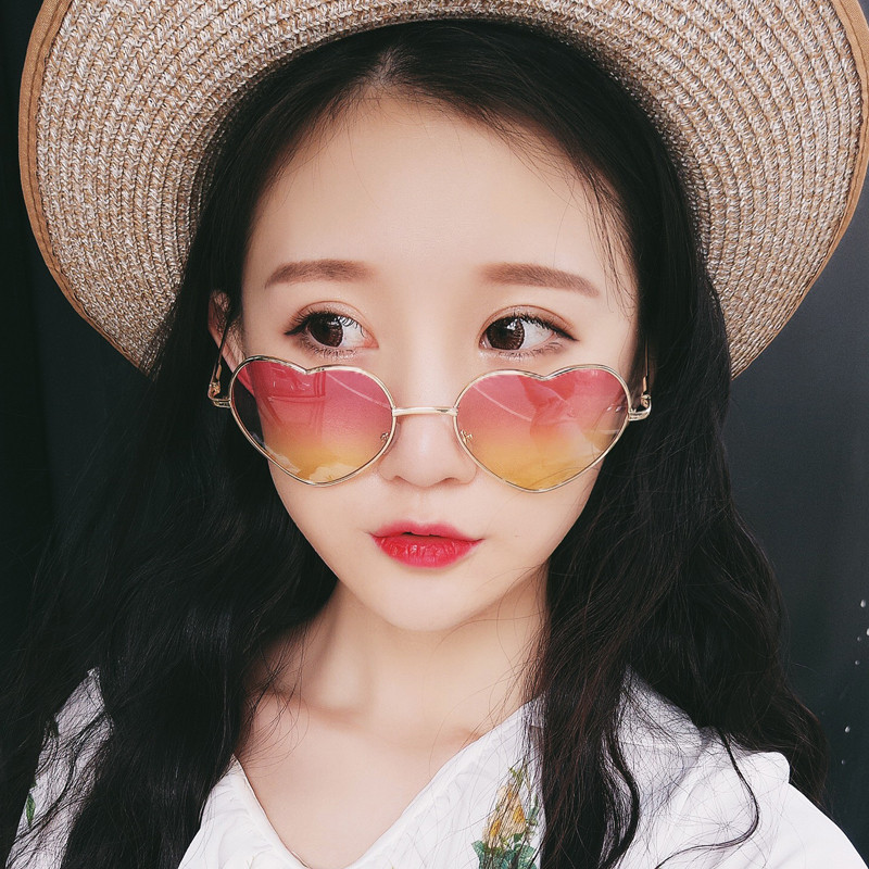Heart Shaped Sunglasses WOMEN metal Reflective LENES Fashion sun GLASSES MEN Mirror oculos de sol NEW çerçevesiz güneş gözlük modelleri bayan