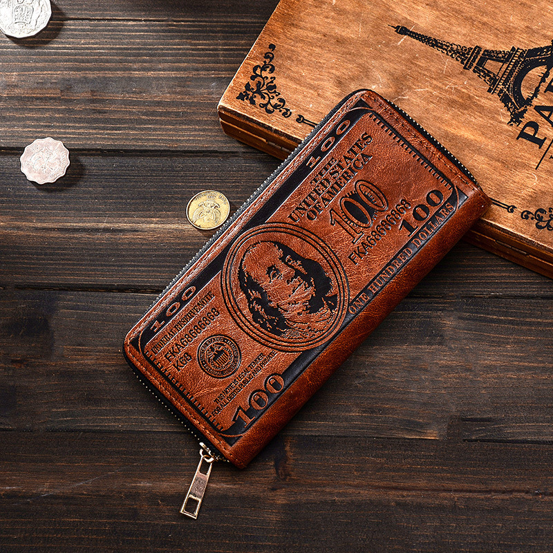 Vintage PU Leather Men Wallet High Quality Creative Dollar Mens Wallets And Purses Portable Card Holder Long Style Leather Purse