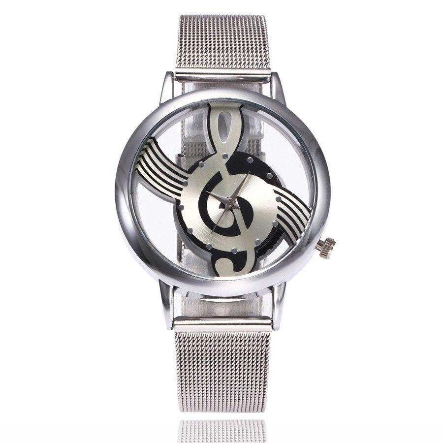 2017 New Brand Fashion Hollow Music Note Notation Watch Stainless Steel Quartz Wrist Watch For Men Women Silver Mesh Watches
