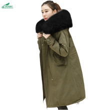 Winter new Korean loose cotton clothing coat women long section thick Hooded collar large size winter Outerwear women OKXGNZ1026