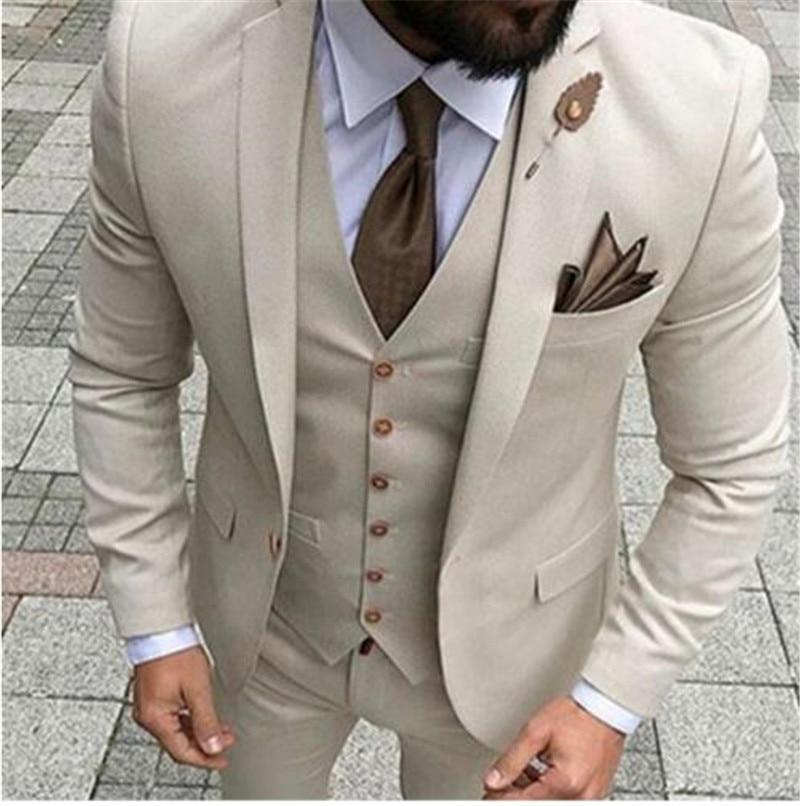 Latest Coat Pant Designs Beige Men Suit Prom Tuxedo Slim Fit 3 Piece Groom Wedding Suits For Men Custom Blazer Terno Masuclino