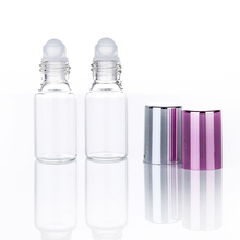 6pcs transparent glass essential oil bottle 5ml mini ball color beads perfume empty