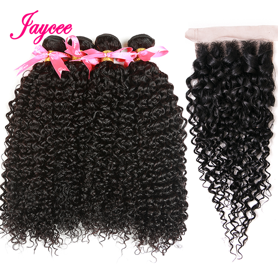 Jaycee Brazilian Kinky Curly Hair 4 Bundles With Closure Human Hair Weave Bundles with Closure 4*4 Brazilian Curly Hair Bundles