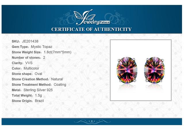 Women 925 Sterling Silver 1.5CT Oval Cut Fire Rainbow Mystic Topaz Stud Earrings