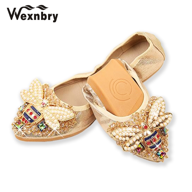Wexnbry Plus Size Designer Crystal Woman Flat Shoes Elegant Comfortable  Lady Fashion Rhinestone Women Soft Bees Shoes-in Women s Flats from Shoes  on ... df50daab7833