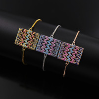 2017 Fashion Brand Rose Gold Color Copper Colorful Crystal Square Hollow Wave Charm Bracelets Bangle Woman Gift