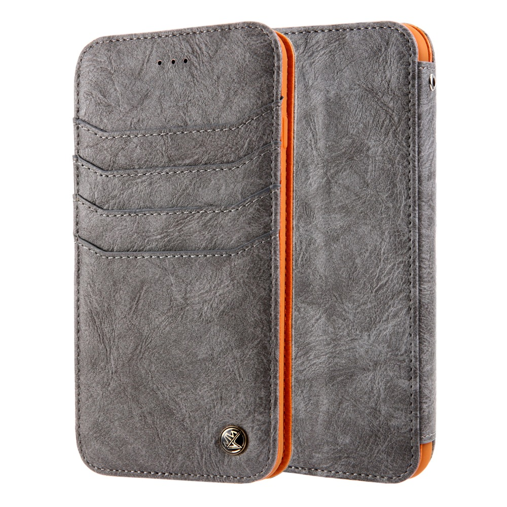 for iPhone X 8 7 6s Plus Vintage Folding Flip Stand Premium Luxury Leather Magnetic Closure Case Cover for Samsung S8 Plus Note8