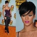 2017 Новый Короткий Эльфа Вырезать Человека Натуральных Волос Парик Rihanna Full кружева Перед Боб Парики Для Чернокожих Женщин Знаменитости Парики Горячей Продажи