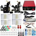Professional 1Set Great Complete Equipment Dual three-color rotary Tattoo Machine set Gun Power Supply Cord Kit Body Beauty DIY