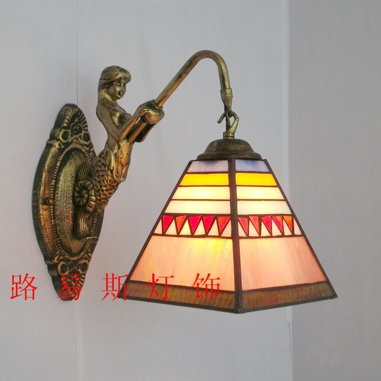 Freight European minimalist beauty retro decorated with stained glass mirror front balcony of the the fish wall lamp Tiffany fumat stained glass ceiling lamp european church corridor magnolia etched glass indoor light fixtures for balcony front porch