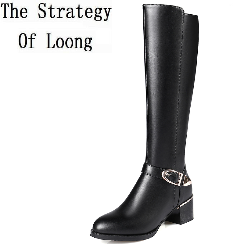 Winter Short Plush Genuine Leather Buckle Pointed Toe Half Boots Basic Zipper Square Heels Women Knee High Boots ZY170908 2017 new arrival winter plush genuine leather basic women boots knight zipper round toe low heel knee high boots zy170904