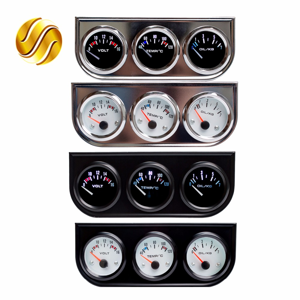 все цены на  Dragon Gauge Car Triple Guage 52mm Voltage / Water Temp (Celsius or Fahrenheit) Oil Press Black / Chrome Bezel 3-In-1 Kit Meter  онлайн