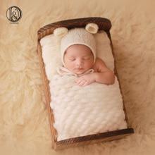 (45x40cm) Handvävt Lopi Akryl Blankettkorg Stufffyller Nyfödd Babyfotografi Bakgrunder Foto Studio Props Dusch Present