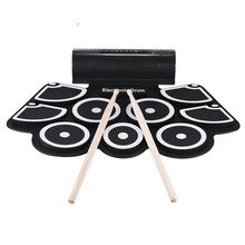 Portable Practice Instrument 9 Beat Built-in Speaker Roll up Electronic Drum Pad Kits with 2 Foot Pedals and Drum Sticks