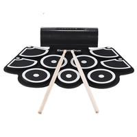 Tragbare Praxis Instrument 9 Schlagen Eingebauter Lautsprecher Roll up Elektronische Drum Pad Kits mit 2 Fuß Pedale und Drumsticks