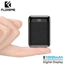 FLOVEME Bank mocy 10000mAh mi ni mi Powerbank moc banku dla iPhone Powerbank xiaomi 2USB zewnętrzny akumulator przenośna ładowarka tanie tanio Z tworzywa sztucznego Do smartfona Podwójny USB ZŁĄCZE micro USB Bateria litowo-polimerowa Cyfrowy wyświetlacz RoHS