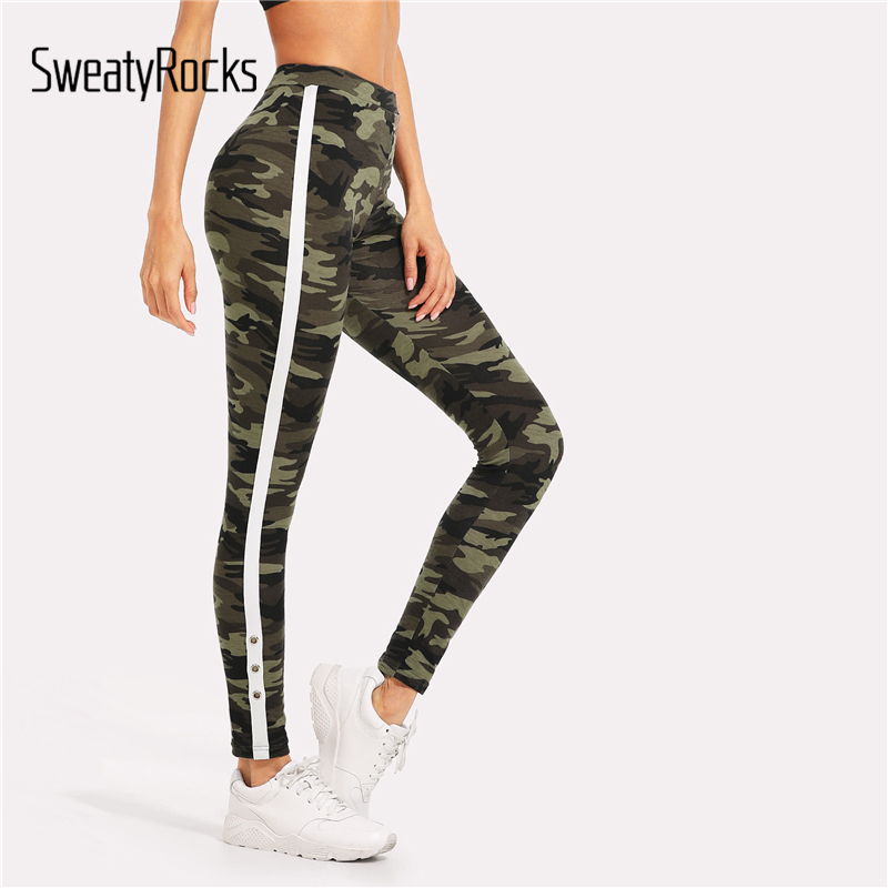 SweatyRocks Tape Side Camo Leggings 2018 New Fashion Sporting Multicolor Crop Leggings Women Stretchy Athleisure Leggings