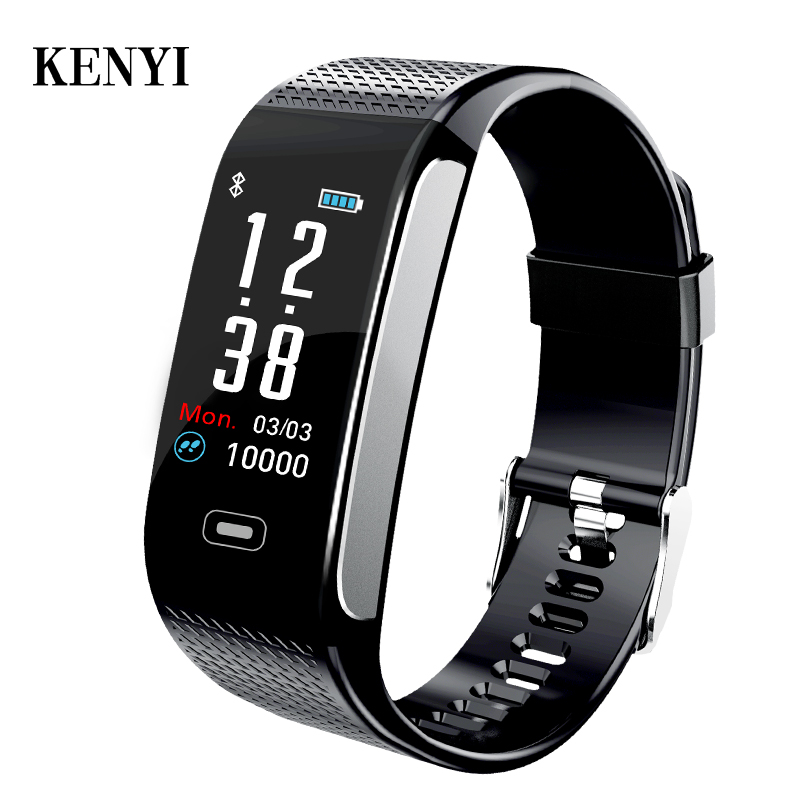 KENYI Smart Band Fitness Bracelet Tracker Pedometer Wristband Blood Pressure Heart Rate Wrist Watch Android IOS