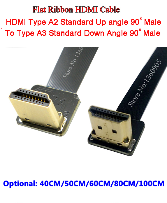 40CM/50CM/60CM/80CM/1M Flat Ribbon Cable Soft Flex HDMI Cable Up Angle Standard Type A2 Male to A3 Male HDMI Standard Down Angle 1m hdmi to hdmi cable