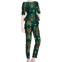 Fashionable African Dashiki Clothes Custom Tshirt And Trousers Set Women Half Sleeve Tops Long Pants Africa