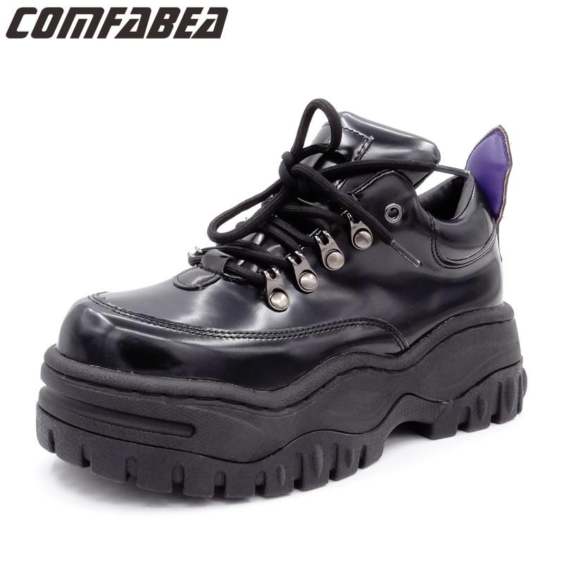 جديد 2019 الخريف حذاء كاجوال النساء السود أحذية منصة الزواحف السيدات الشقق الأحذية المتناثرة الزاحف حذاء مريح-في أحذية نسائية مسطحة من أحذية على  مجموعة 1