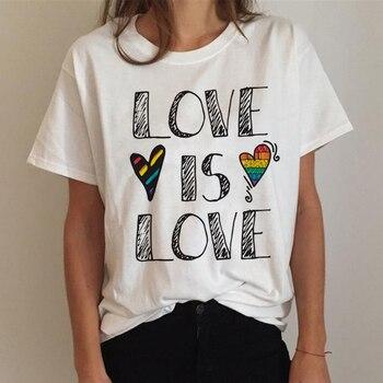 Lgbt T Shirt Women Gay Pride Shirt Lesbian Rainbow T-shirt Harajuku Ullzang Funny Tshirt 90s Graphic Love Is Love Top Tee Female 3