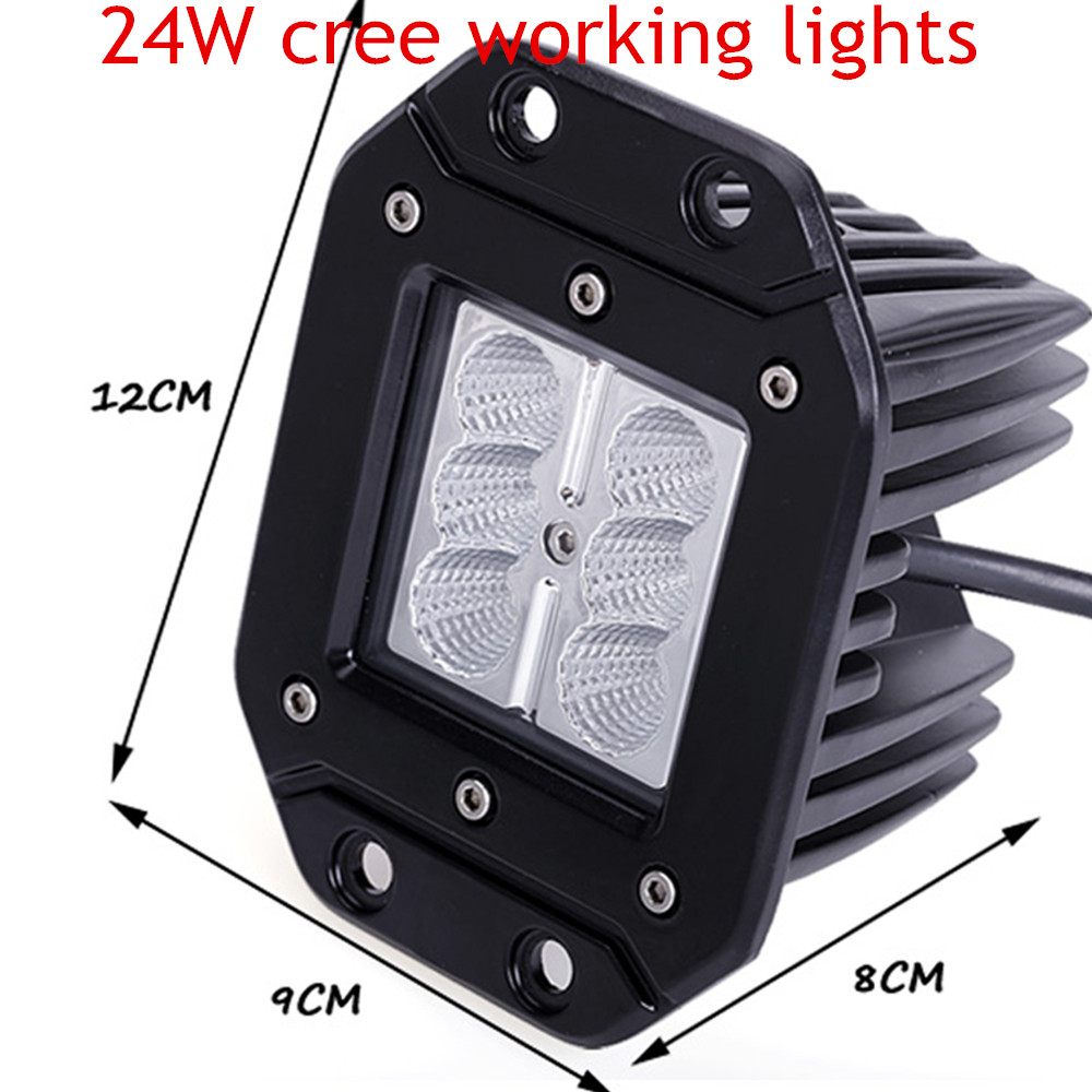free shipping 24W Spot Lamp 2pcs LED Work Light for Motorcycle Tractor Truck Trailer Off road Driving Vehicle