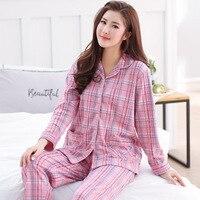 New 2018 Two piece Women's Pajama Sets Pure Cotton Plaid Long Sleeve Shorts Sleepwear Female Pyjama Nightgowns Sleep Lounge 3XL