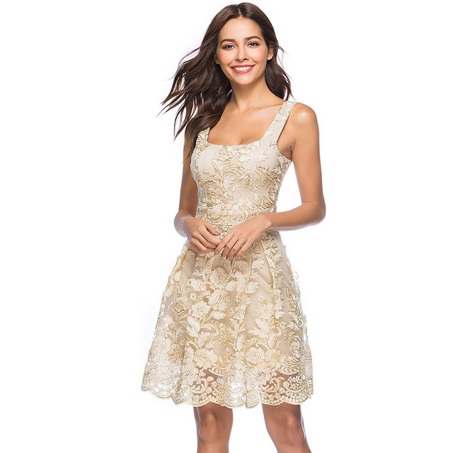 3617f0f9 Women Summer New Arrival 2018 Elegant Square Neck High Quality Lace  Embroidery Casual Party Skater Dress for Dancing 352205