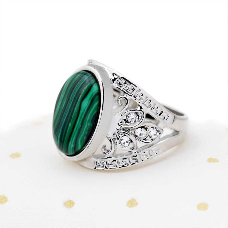 Vintage หิน Malachite แหวนเงินโบราณสีเขียวรูปไข่การตั้งค่าคริสตัลทิเบตแหวนเครื่องประดับ