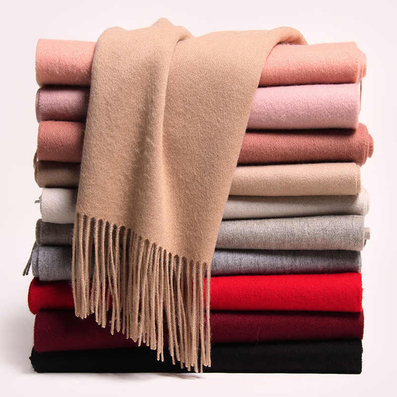 2019 Women Winter Scarf 100% Wool Echarpe 2019 Warm Foulard Femm Wraps for Ladies Pashmina Solid Color Tessel Pure Wool Scarves