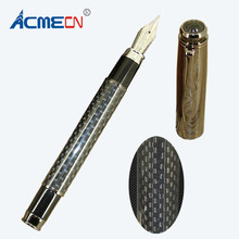 ACMECN Brand Writing ink Pen with Carbon Fiber & Plating Gun Fashion Liquid Fountain One-off cartridge for Mens Gifts
